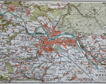 Dresden map at the end of the 19th century. Old book plate, 1897. Antique illustration. 117 years lithograph. 9'6 x 6'2 inches.