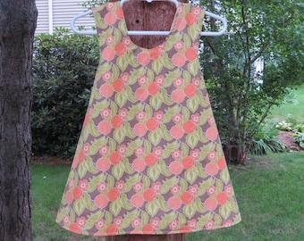 REVERSIBLE Baby Criss-Cross Dress, Wrap Dress, Pinafore Dress, Reversible Baby Dress, 18M Baby Summer Sun Dress, 18M Peach Dress
