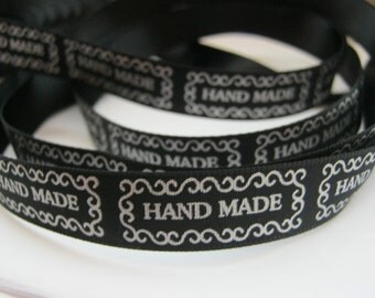 "Black Satin ""Handmade"" Ribbon Sewing Labels x 1 Metre (3ft 3in) 30 Ribbon Labels Clothes Tags"