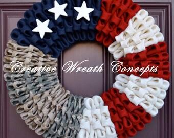 Patriotic Multi-Branch Military Wreath (No Bow)