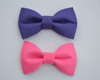 Set of 2 Baby/Girls Purple and Pink Bow Hair Clips - Purple Bow Clip - Pink Bow Clip - Alligator Clip - Girls Hair Clips - Hair Bows