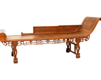 Chinoiserie Carved Daybed Chaise Lounge