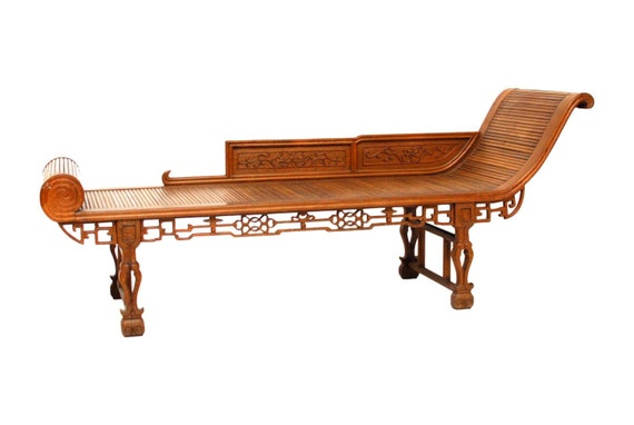 Chinoiserie carved daybed chaise lounge by erinlaneestate for Carved wooden chaise