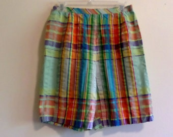 Vintage 1960's Pastel Sherbet Colors Plaid Preppy Seersucker Cotton Bermuda Shorts by Koret of California Approx Size Med Permanent Press