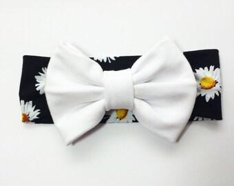 Bow Turban| Daisy flowered headband with white bow