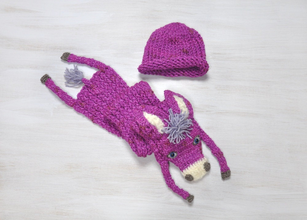Knitting Pattern For Donkey Hat : Set Hat Scarf Baby Hat with Scarf Donkey Burro Hat Beanie