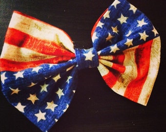 Vintage American Flag Hair Bow Accessory
