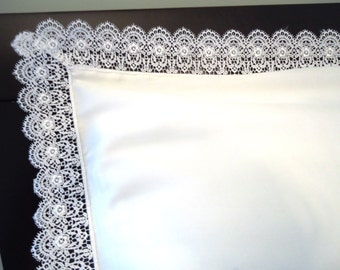 VENICE LACE Pillow Sham (1) Standard White 100% Cotton Sateen New