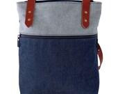 Denim Backpack/ Denim Tote Bag/ Convertible Backpack Purse/ Navy Blue Backpack/ Denim Bookbag/ Leather Backpack