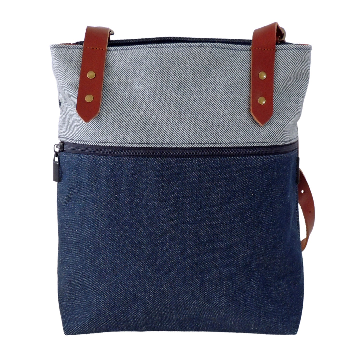 Denim Backpack/ Denim Tote Bag/ Convertible Backpack Purse/
