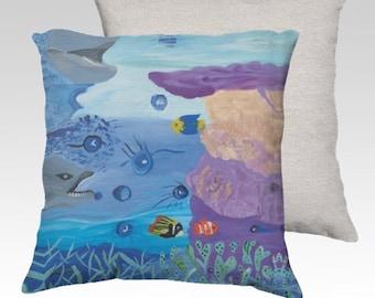 A World Below throw pillow cushion, decorative throw pillow, living room, sofa, designer pillow