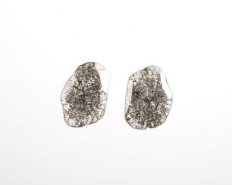 Faceted Diamond Slice Freeform Pair