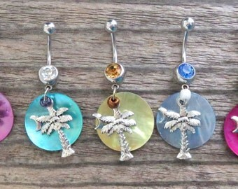 Palmetto Tree / Palm Tree Belly Ring with Shimmery Shell - South Carolina Palm Tree and Moon Dangling Body Jewelry, Belly Button Ring Dangle