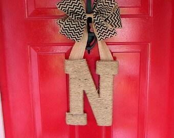Monogram Door Hanging, Spring Wreath, Monogram Door Hanger, Chevron Burlap Door Decoration with Monogram, Monogram Letter for Door