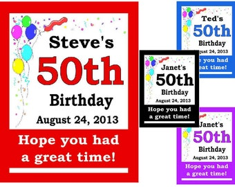 15 ~ 50th Birthday Party Favors Personalized MAGNETS ~ FREE SHIPPING