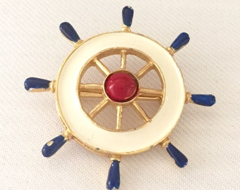 Ship Wheel Brooch- Navy and White Enamel Pin With Gold Tone Metal and Red Center- Bride, Wedding, Mother of the Bride, Bridesmaids, Nautical