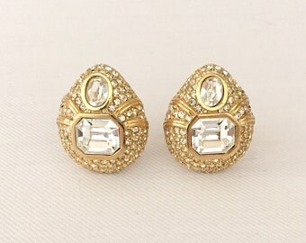 Wow! Vintage Signed Ciner Pave Rhinestone and Gold Tone Clip Tear Drop Shaped Earrings-Bride, Wedding, Mother of the Bride, Bridesmaids
