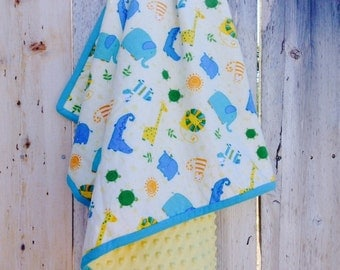 Modern baby blanket - Baby boy blanket - Jungle animals baby blanket - Flannel baby blanket - Minky baby blanket