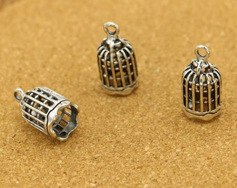 10pcs Bird Cage Birdcage Charms Antique Silver Tone Bird Charm 3D 24*13mm
