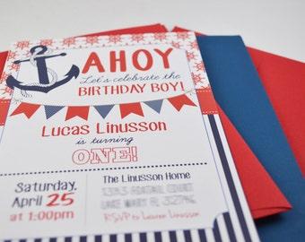 Birthday Invitation Nautical Theme ** Invitations (envelopes included)**
