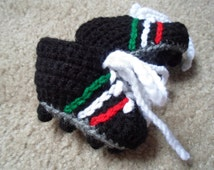 Crochet Soccer Cleat Booties/Shoes in Mexico Colors.  Available in Sizes: Newborn-12 Months.