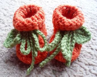 Crochet Pumpkin Booties:  Sizes Newborn-12 Months.