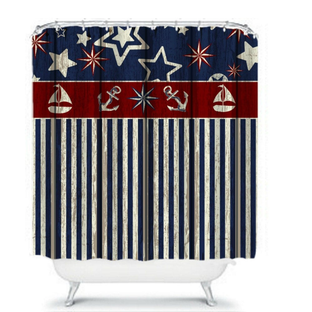 Shower Curtain Nautical Weathered Wood Design by FolkandFunky