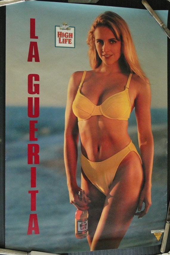 Vintage 1990s Sexy Lady In Swimsuit With Miller High Life Beer