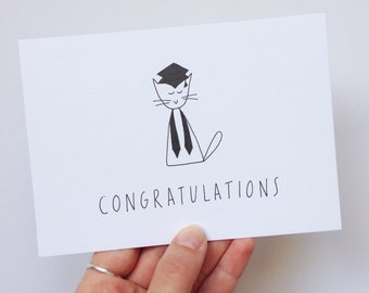 Graduation card. Congrautlations. Hand illustrated cat card