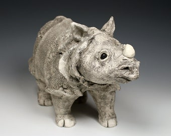 Standing Indian Rhinoceros, ceramic animal sculpture, original art, one-of-a-kind, grey and black, fired clay Indian rhino sculpture