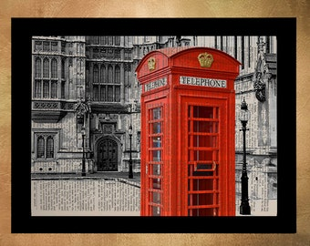 London Red Phone Booth Dictionary Art Print Architecture England UK Britain Travel Gift Ideas Wall Art Decor da785