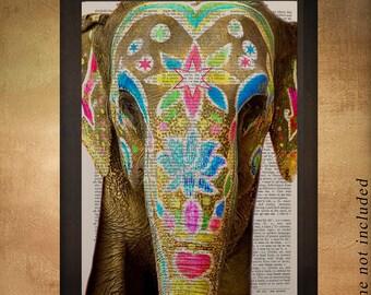 Painted Elephant Dictionary Art Print Wildlife India Animal Wall Art Home Decor Fine Art Print Vintage da853