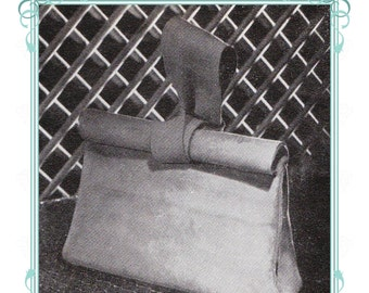 1940s Roll Top hand bag sewing pattern- full size paper pieces