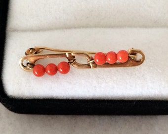 Antique Coral 18K Gold 750 Coral Bead Brooch Pin Cartouche Signed