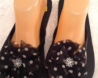 Women's Large Black Ribbon and Rhinestone Flip Flops Size 9-10