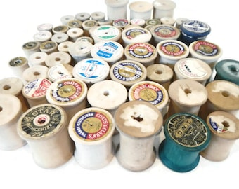 Vintage Lot of 61 Assorted Wooden Spools - home decor, sewing room decor, thread, decoration, notions, sewing supply, collectible