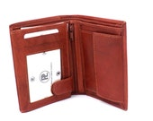 Mens Red Tan Leather Tri-Fold Wallets ID Wallets in Gift Box