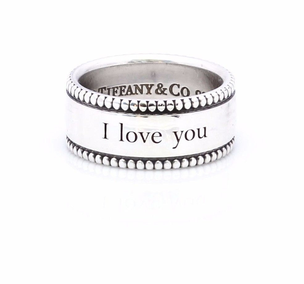 Tiffany Amp Co I Love You 8mm Beaded Band Ring 925 Sterling