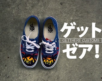 Custom Hand Painted Sunset/Palm tree Vans Authentic Shoe