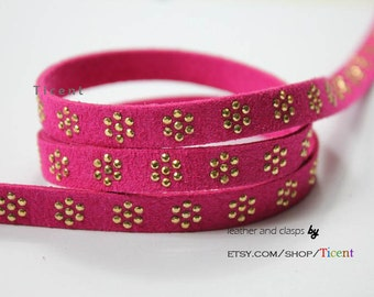 10mm Magenta Suede Leather with Gold Aluminium Stones Flower, 10mm Flat Suede Leather-1 Yard RSL1057
