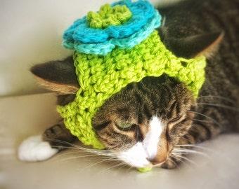 Halloween Costume Crochet Flower Cat Dog Hat Unique Handmade Green Cotton Cat Dog Pet Hat Blue Summer Flower