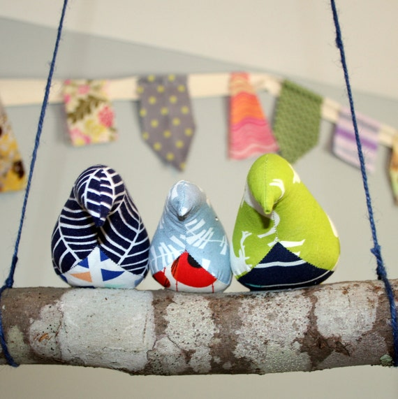 And then there were 3... birds on a branch - 3 fabric birds on a real branch - porch, sunroom, home decor, woodland nursery decor