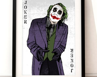 The Joker portrait print, The Joker print, Batman inspired print, The Joker art, film print, Batman, film art, The Dark Knight, Heath Ledger