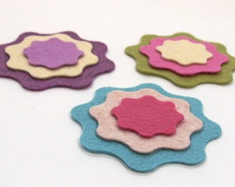 Felt Flowers, 12 pieces - Felt Die Cut Shapes - Wool Blend Felt - Flower Layers - Felt Applique
