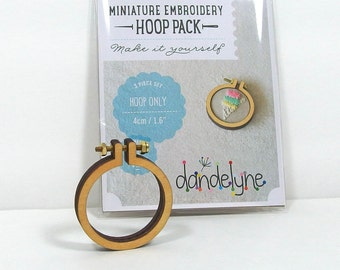 Miniature Embroidery Hoop, 1.6 inch, Tiny Wooden Hoop, Round Frame, Craft Supply, DIY Kit [DH-16R]