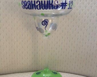 Football Margarita - NFL Margarita Glass Personalized - Custom, Decorated Margarita Glass