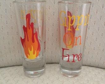 Shot Glass - Fireball Shot Glass - Man Cave Gift - Birthday Gift