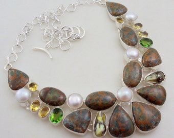 free shipping Us-2 stunning  JASPER + MULTI-STONE  .925 silver jewelry necklace
