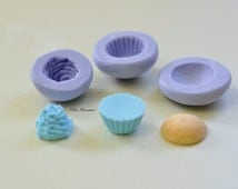 MOLD CUPCAKE  1,5CM flexible silicone 3d miniature dollhouse charm kawaii polymer clay jewelry soap resin plaster 3 mold ST180