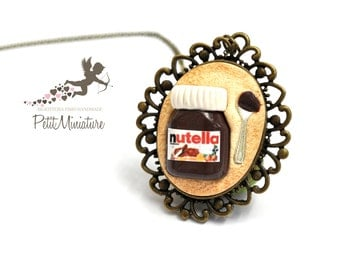 Nutella Chocolate necklace-jar with spoon-Mounted cameo bronze-Jewelry Kawaii